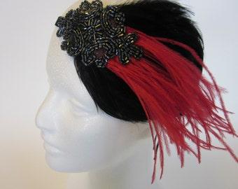 Gray 1920s Headpiece, red feather Headband great Gatsby pewter black feather Fascinator, 1920 Gatsby Headband, 1920 Headpiece, pewter