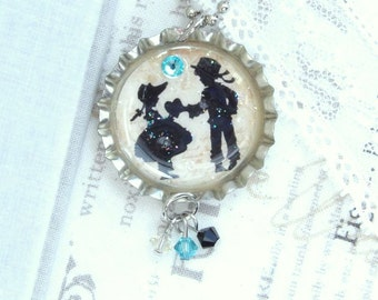 Boy Girl Necklace Romantic Necklace Love Necklace Girlfriend Necklace Bottle Cap Necklace Love Gift