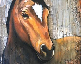 Horse Painting print, titled Neigh – paper print MOUNTED to wood panel, modern farmhouse art, farm art