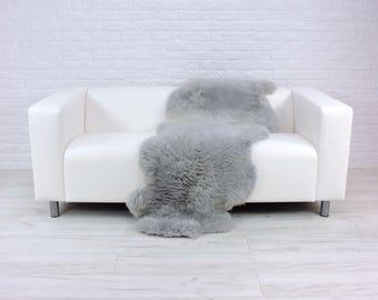 Giant genuine British DOUBLE sheepskin rug dyed silver grey 180cm x 65cm D21