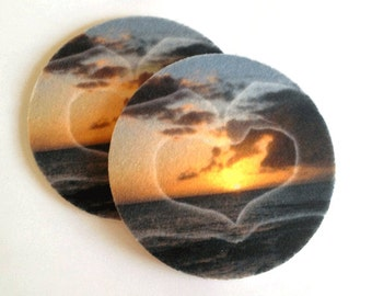 Sunset Absorbent Drink Coasters Set - Makes a great gift - Free Shipping - Buy One = Give Clean Water