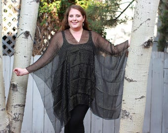 Black and Gold Formal Shawl Top - Silk