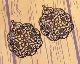 SALE - 10pc- Copper Filigree, big bohemian drop, leaf connector, pendant, link and more...