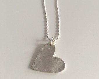 SALE- Dented heart, pendant necklace, fine silver with sterling silver chain