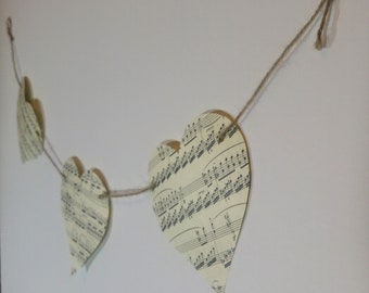 Music Paper Bunting | Large Heart Bunting l Vintage Garland | Music Theme Decor l Housewarming | Party Decoration l Shabby Chic l Romantic
