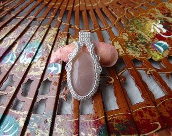 Peach moonstone silver pendant. Silver pendant, moonstone pendant, wire pendant, moonstone necklace