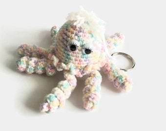 Pastel Octopus Stuffed Toy, Kawaii Amigurumi Octopus Keyring, Small Plush Octopus Bag Charm, Crochet Octopus Key Chain, Soft Octopus Key Fob