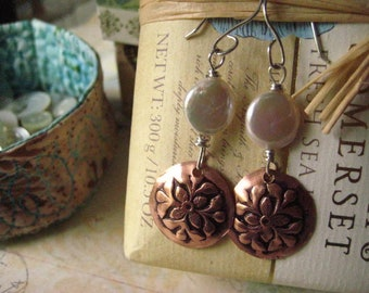 Coin Pearl Earrings, Stamped Copper, Mixed Metals, Sterling Silver, Pure Brass, Oxidized Copper, candies64