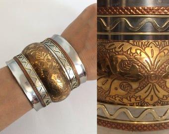 Vintage 70s Ethnic Cuff Bracelet / Mixed Metal Boho Hippie Festival Cuff Bracelet