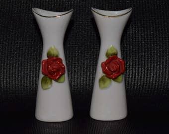 Pair Of Tiny Rose Adorned Ceramic Vases