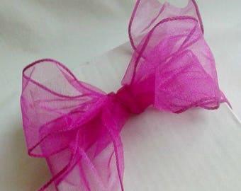 "Fuchsia Sheer Wire Ribbon / Valentines Day Ribbon / Easter Ribbon / Mothers Day Ribbon / 2 1/2"" 10 yards"