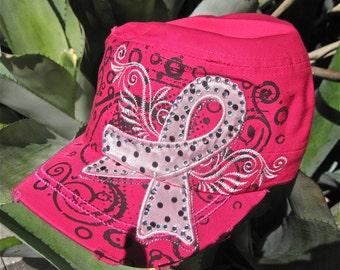 """Breast Cancer Awareness Vintage Cap.    """"Hot Pink"""""""