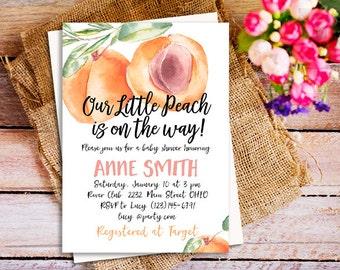 Sweet Peach Baby Shower Invitations, Little Peach On The Way Invitation, Peaches  Baby Shower