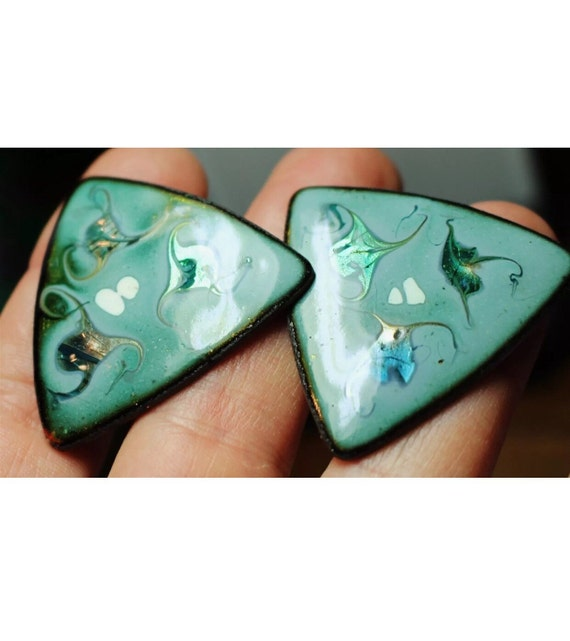 Vintage Copper Enamel art Turquoise blue drizzles on  triangular Screw back Earrings