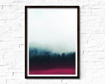 Foggy Forest Print, Forest Wall Art, Large Poster, Modern Minimal, Forest Landscape, Mountain Decor, Green Forest, Winter Landscape