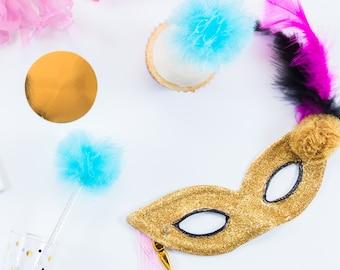 Masquerade mask, Glitter mask, Mardi Gras mask, Gold mask