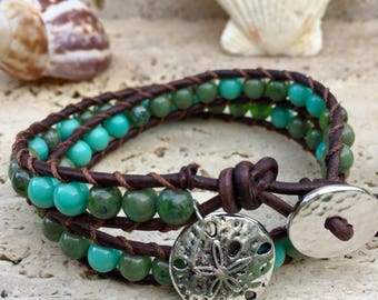 Double Wrap Leather Bracelet Green Blue Beads With Sand Dollar Charm