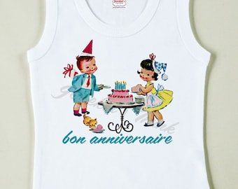 Vintage Birthday Party Tee - French Tshirt Tank - Custom Size - Retro Birthday Gift - Children's Birthday Shirt - Kid's Party Tee