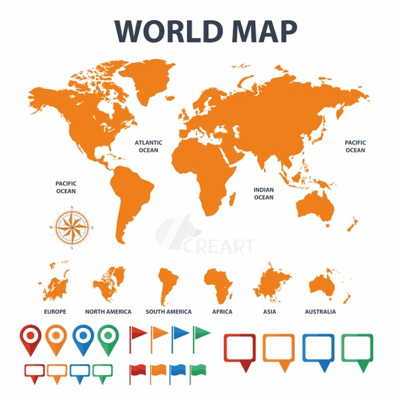 World map with pins flags textbox clip art silhouette for gumiabroncs