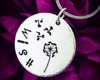 Wish Dandelion & Fluff Hand Stamped Necklace. Wish Necklace, Inspirational Necklace, Dandelion Necklace, Dandelion Jewelry, Nature Necklace
