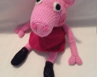 Crocheted soft toy Peppa Pig