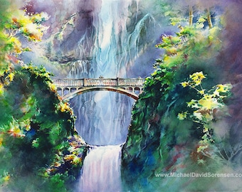 Afternoon at Multnomah Falls, Watercolor Painting Print. Oregon Waterfall. Pacific Northwest Art. Columbia River Gorge. Couple on Bridge.