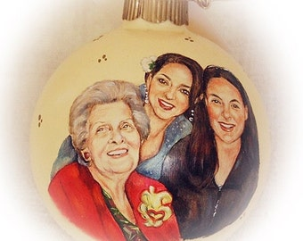 Mothers Day portrait painting, custom family portrait painting ornaments