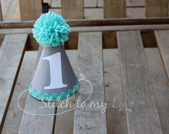 Custom Birthday Hat First Birthday Party White Gray Robins Egg Blue Teal Elephant 1st Birthday Outfit Toddler Baby Boy or Girl