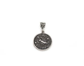 NEW Round Double Sided Scorpio Zodiac Medallion - Slide On Charm - Fits Standard European Charm Bracelets