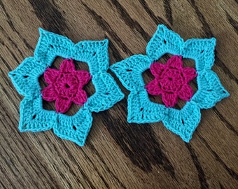Bright blue and pink coasters