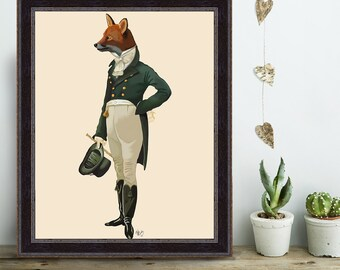 Dandy Fox Full - Fox art fox print fox decor fox painting fox art print fox illustration fox love fox wall art regency era regency men