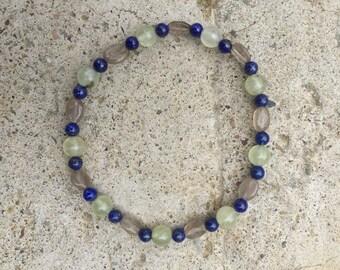 Lapis Lazuli  Prehnite Smoky Quartz Stretch Bracelet • Reiki Charged • Crystal Healing • Metaphysical • Protection From Negative Energy