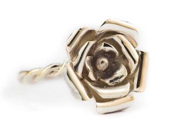 Rose Sterling Silver Handmade Beautiful Large Flower Ring