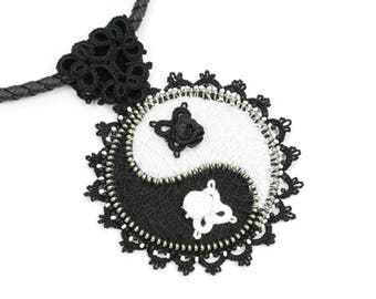Yin Yang necklace, Chinese necklace, Protective Talisman, Tatted lace necklace, Black white jewelry, Handmade jewelry, Romantic gift for her