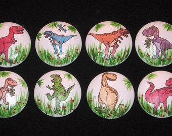 READY To SHiP - Set of 8 DINOSAURS - Wooden Drawer Knobs