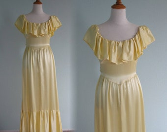 Yellow Satin Dress - 70s does 30s Yellow Satin Gown with Ruffled Bodice - Vintage Yellow Maxi Dress - Vintage 1970s Dress XS S