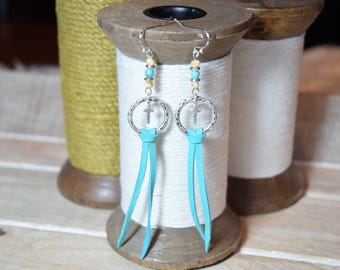 Cross Dangle Earrings - Turquoise Leather Fringe Earrings - Sterling Silver Stamped .925 Hooks - Hammered