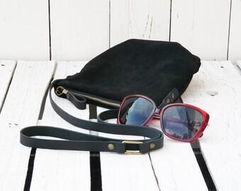Suede purse, Bohemian leather crossbody bag, black mini clutch, Festival Teenager handbag, zipper shoulder bag, unique gift for women