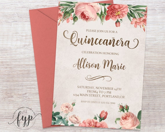 Floral quinceaera invitation quinceaera invite girls floral quinceaera invitation quinceaera invite girls 15th birthday girls fifteenth birthday quince invitation watercolor flowers m4hsunfo Image collections