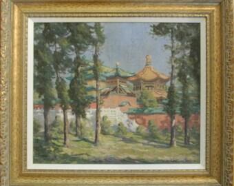 Buddhist shrine temple original oil painting signed-Vintage