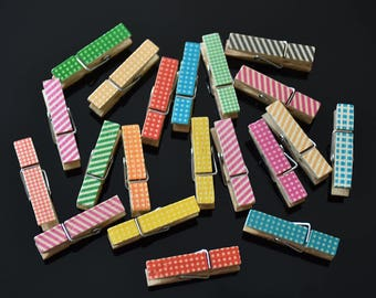 Photo Wooden Clips 20 pcs Set Decoration Assorted Painting Wooden Clips