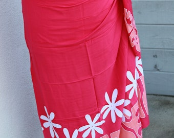 Dark pink, light pink and white tattoo tiare premium Tahitian pareo, pareau, sarong, lavalava, tahitian dance