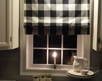 Faux False Roman Shade - Fake Roman Shade -  Top Treatment - Stationary Valance - Mock Roman Buffalo Plaid Fabric - Choose Fabric Color-Size