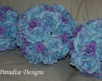 Wedding Bouquet Set -  Roses - Lavender Blue with Pearls