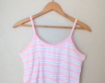 vintage pink & blue striped nautical cropped tank top