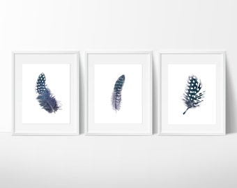 Set of 3 Indigo Feather Prints / Navy Feather Print / Feather Wall Art / Blue Feather Print / Up to 13x19