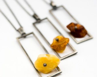 Bloc 9: sterling silver and baltic amber (your choice of color - made to order) - necklace