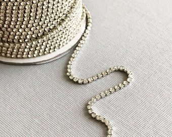 2 mm rhinestone cup chain clear silver toned jewelry necklace supply vintage style, 1 foot