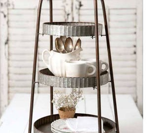 Rustic On the Farm style 3-Tiered Round Display