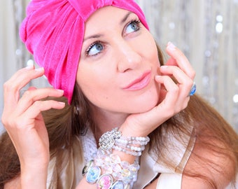 Turban Headwrap in Hot Pink Velvet - Women's Fashion Hairwraps - Full Turbans - Turban Hats - Lots of Colors